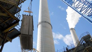 Hunter Power Plant Demolition smoke stack and hoist
